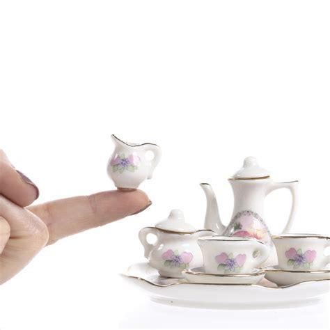 Miniature Ceramic Tea Set   Kitchen Miniatures   Dollhouse