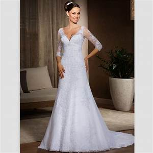 2015 white lace wedding gowns sweep train v neck bohemain With 3 4 sleeve wedding dress
