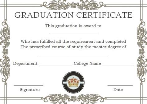 masters degree certificate templates masters degree