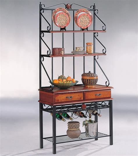 kitchen cabinet shelving racks tobacco brown metal 3 shelf kitchen cabinet with wine rack