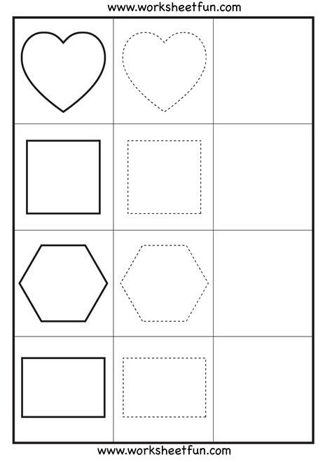 Shape Tracing  3 Worksheets  Free Printable Worksheets Worksheetfun