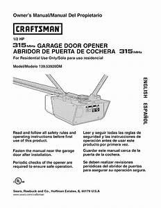 Craftsman 1 2 Hp Garage Door Opener Manual 41a5021