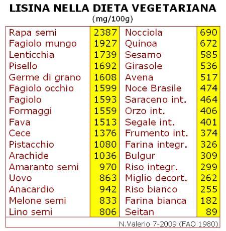 alimenti con aminoacidi lacto ovo vegetarian alimenti ricchi di lisina chi l
