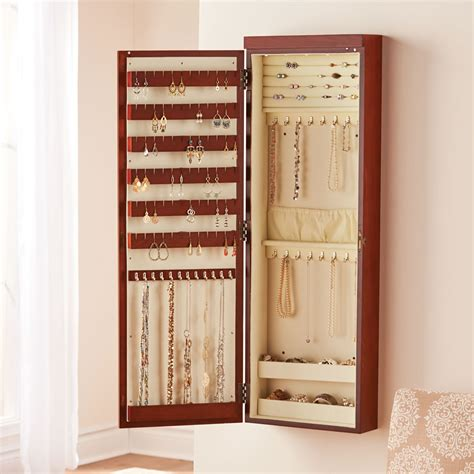 wall mounted lighted jewelry armoire hammacher