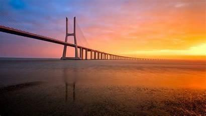 Bridge Lisbon Portugal Abril 4k Wallpapers Sunset