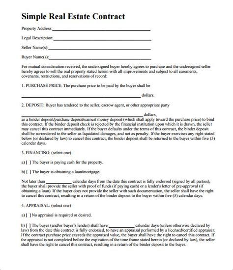 8+ Real Estate Contract Templates  Free Word, Pdf Format