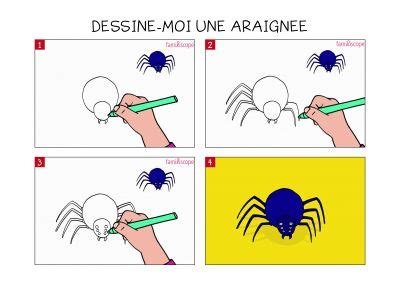 apprendre  dessiner une araignee en  etapes