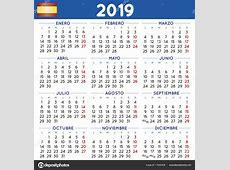 Yıl 2019 kare takvim İspanyol haftası Pazartesi günü