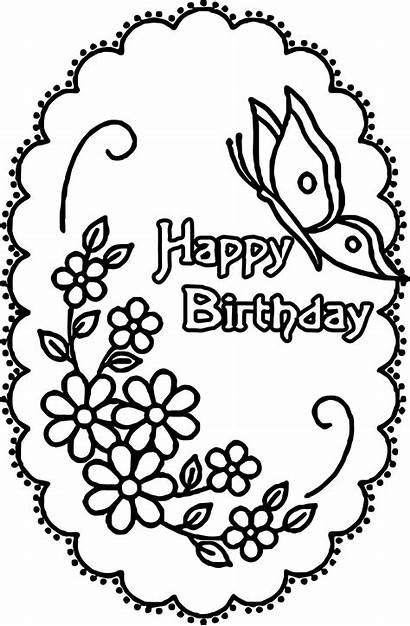 Coloring Birthday Happy Pages Flowers Butterflies Adult