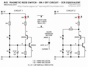 N O  Magnetic Reed Switch On   Off Circuit