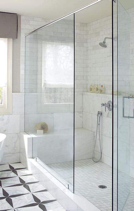 long marble shower shelf  shower bench transitional