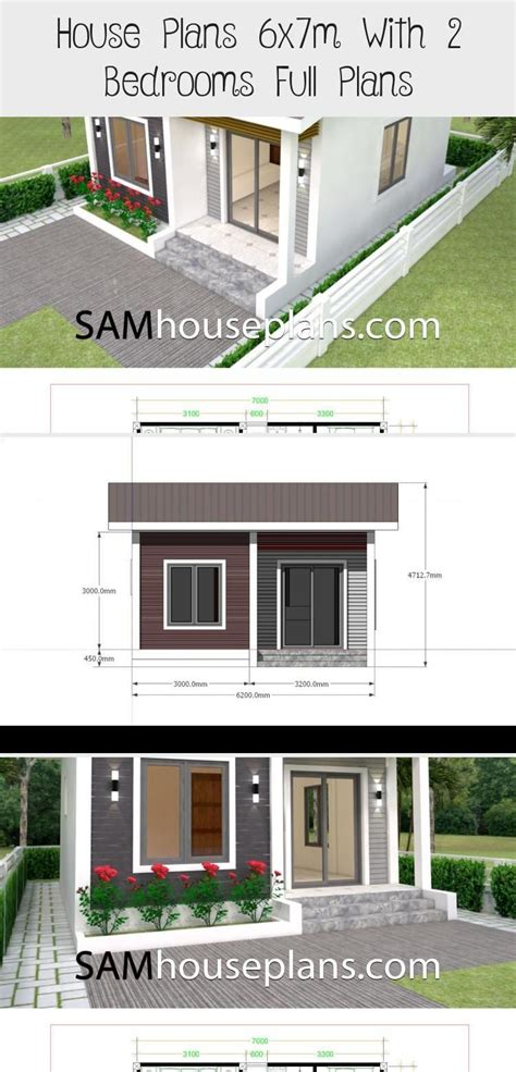 House Plans 6x7m With 2 Bedrooms Full Plans in 2020 Pool