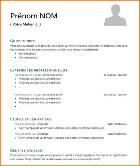 Cv Exemple Simple by Cv Modele Simple Exemple De Cv Gratuit Word Degisco