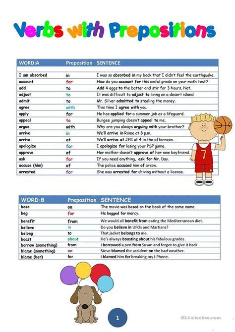 intermediate verbs  prepositions sentence