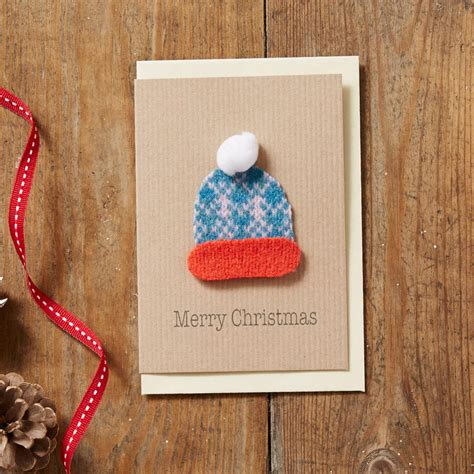 handmade knitted bobble hat christmas card  suzie lee