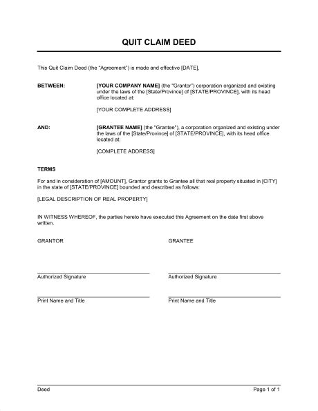 quit claim deed template word   business   box