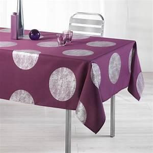Nappe De Table Rectangulaire : nappe rectangulaire l240 cm platine prune nappe de table eminza ~ Teatrodelosmanantiales.com Idées de Décoration