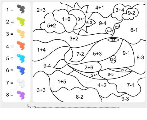 coloring worksheets  kindergarten math schematic
