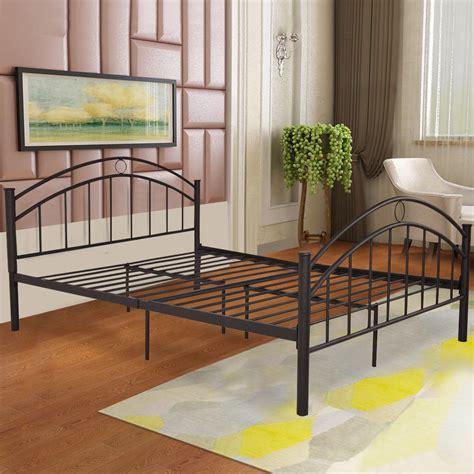 Bedframe With Headboard by Us Size Metal Bed Frame Mattress Platform Headboard