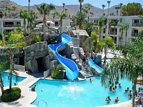 hotels in palm springs family pool with waterslides at the palm canyon resort in