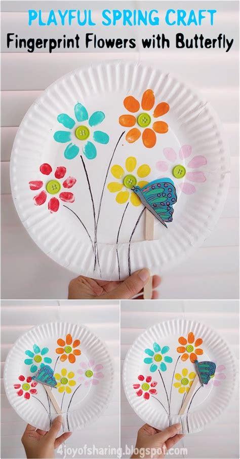 fingerprint flowers and flying butterfly playful 790 | Spring FlowersandButterfly Pinterest