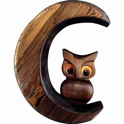 Wood Decorative Carving Owl Wall Crescent Moon