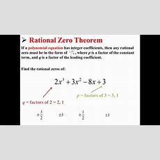 Rational Zero Theorem Youtube