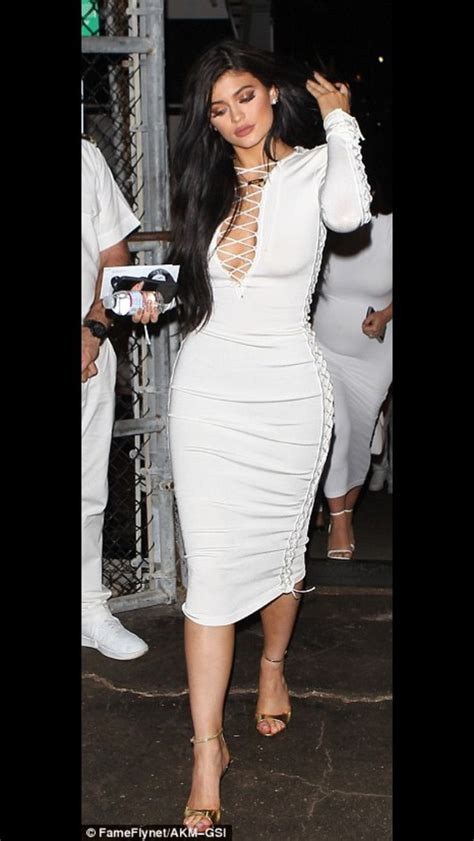 Dress kylie jenner midi dress white dress lace up caged dress - Wheretoget