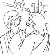 Jesus Coloring Miracles Pages Bible Sheets Eye Blind Bartimaeus Printable Heals Story Healing Children sketch template