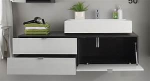 Meuble Gris Laqué : meuble sous lavabo suspendu design gris blanc laqu messine matelpro ~ Nature-et-papiers.com Idées de Décoration