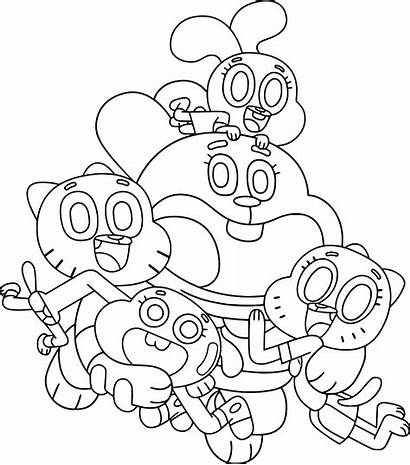 Gumball Coloring Amazing Pages Cartoon Network Happy