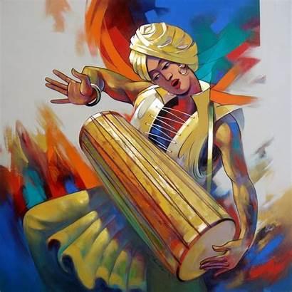 Shankar Painting Decorative Musician Acrylic Canvas Artwork