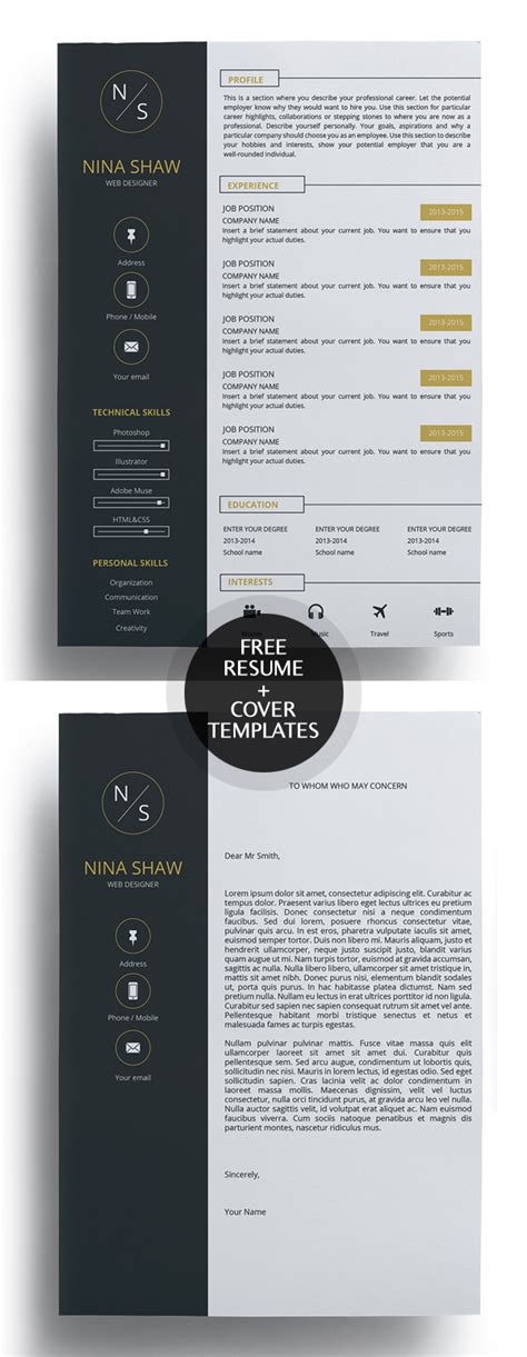 Resume And Cover Letter Templates by 23 Free Creative Resume Templates With Cover Letter