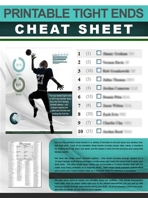 tight ends cheat sheet  printable format