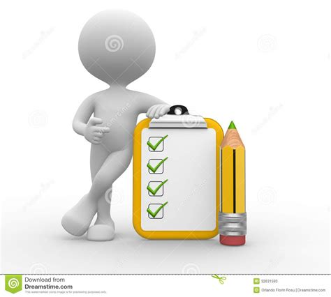 pencil   clipboard checklist stock  image
