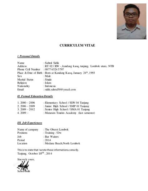Curriculum Vitae Format Bahasa Indonesia Example Good Resume Template