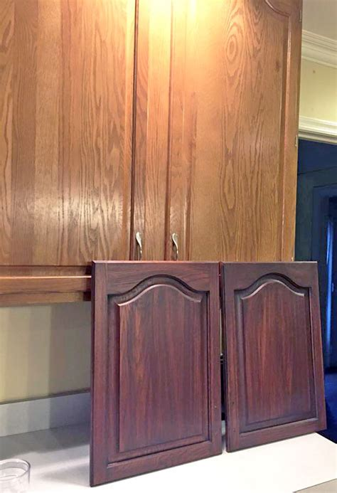 staining kitchen cabinet doors brown mahogany cabinet transformation general finishes 5699