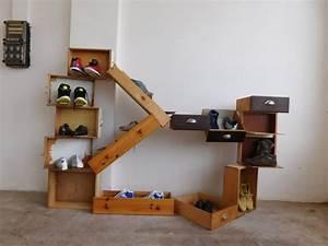 Garderobe Mit Schuhregal : design garderobe shoe rack schuhregal regal aus schubladen diy upcycling selber machen ~ Sanjose-hotels-ca.com Haus und Dekorationen