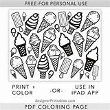 Ice Cream Coloring Printable Cones Printables Summer Cone Pdf Sheet Designer sketch template