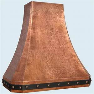 Hand Made Copper Range Hood With Black Steel Strap