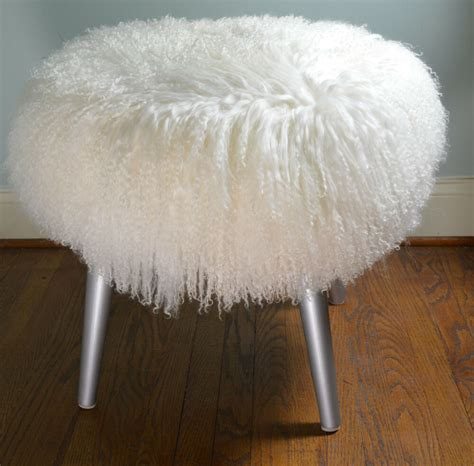 Bench Footstool by Mongolian Fur Stool Real White Tibet Bench