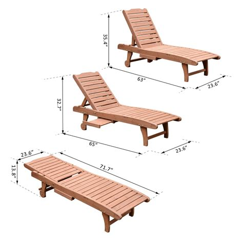 table 6 chaises outsunny wooden chaise lounge outdoor patio furniture