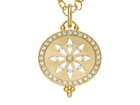 Temple st. clair 18k Yellow Gold Pavé Halo Cut Out