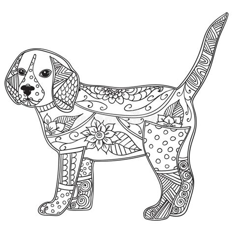 dog adult antistress  children coloring page stock
