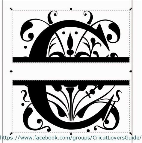 letter c monogram template cricut using inkscape to create a split letter monogram