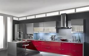 cuisine rouge grise et blanc With cuisine rouge et grise