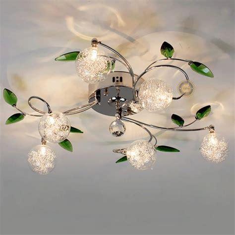flush mounted green leaves pattern ceiling light   lights