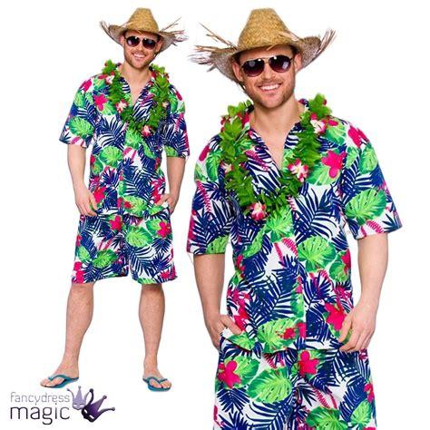 Hawaiian Party Guy Fancy Dress Costume Shirt Shorts Straw Hat Mens Luau BBQ Lot   eBay