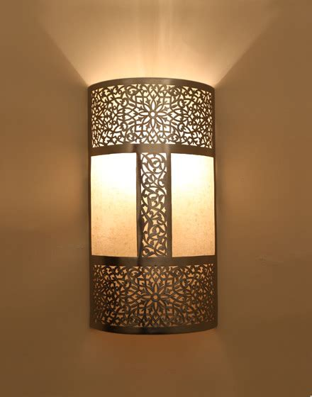 silver wall light with parchment bazaar