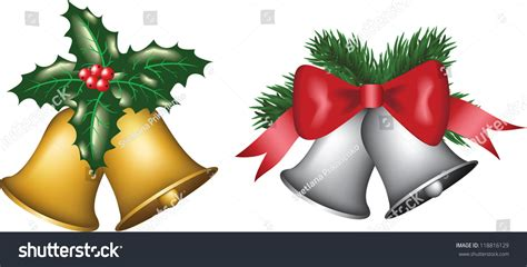 Christmas Gold And Silver Bells With Tree, Bow And Holly